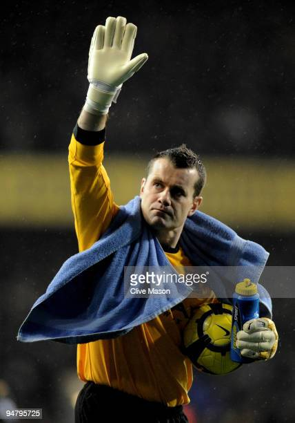 Shay Given of Manchester City waves to the travelling fans during the Barclays Premier League match between Tottenham Hotspur and Manchester City at...