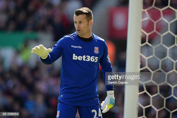 Shay Given of Stoke City during the Barclays Premier League match between Stoke City and West Ham United at the Britannia Stadium on May 15 2016 in...