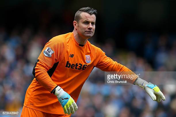 Shay Given of Stoke City reacts during the Barclays Premier League match between Manchester City and Stoke City at Etihad Stadium on April 23 2016 in...