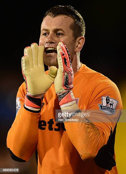 Shay Given of Stoke City shouts during the Capital One Cup Third Round match between Fulham and Stoke City at Craven Cottage on September 22 2015 in...