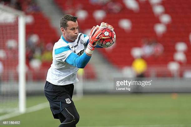 Shay Given of Stoke City warms up before the Barclays Asia Trophy match between Stoke City and Singapore Select XI at the National Stadium on July 18...
