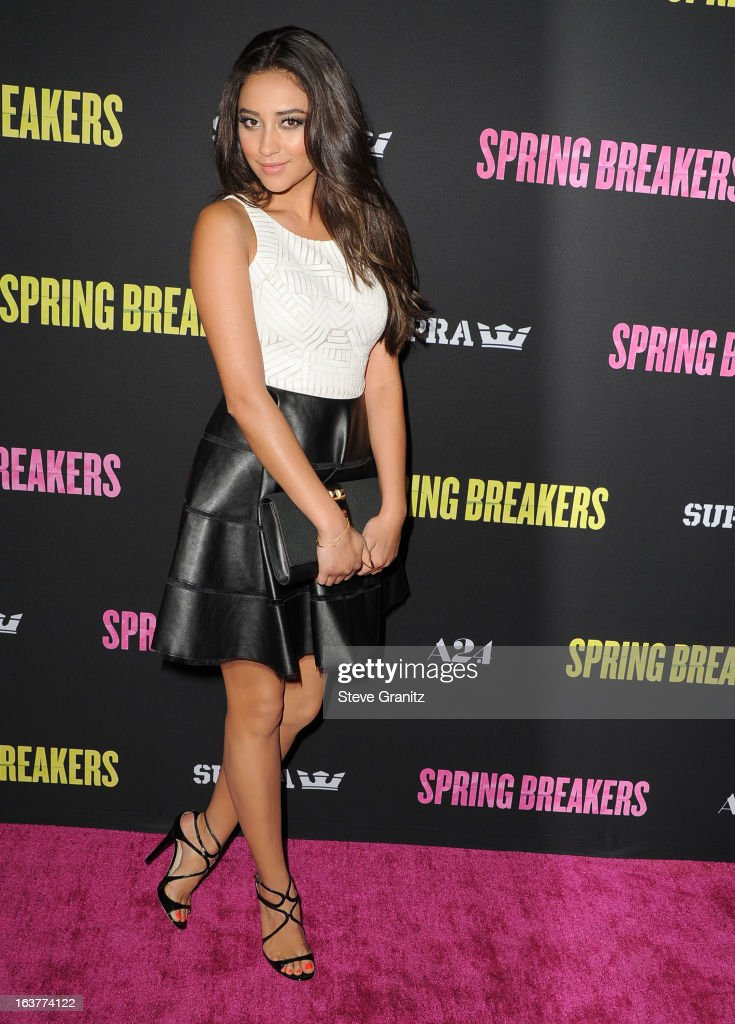 Shay Mitchell arrives at the 'Spring Breakers' Los Angeles Premiere at ArcLight Hollywood on March 14, 2013 in Hollywood, California.