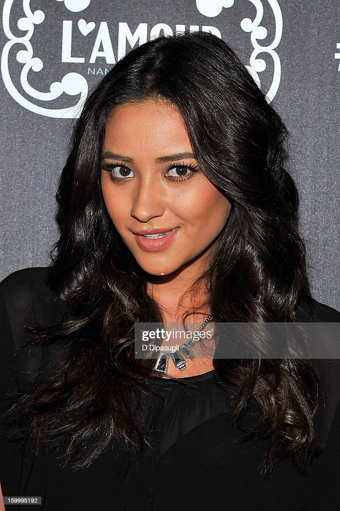 Shay Mitchell attends the L'Amour By <a gi-track='captionPersonalityLinkClicked' href=/galleries/search?phrase=Nanette+Lepore+-+Fashion+Designer&family=editorial&specificpeople=5410475 ng-click='$event.stopPropagation()'>Nanette Lepore</a> For JCP Launch Party at Good Units on January 24, 2013 in New York City.