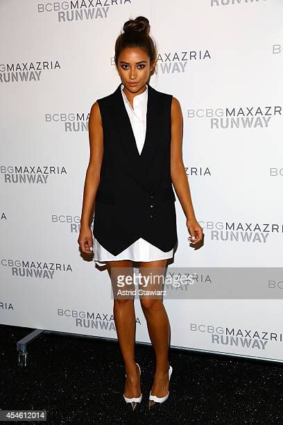 Shay Mitchell poses backstage at the BCBGMAXAZRIA fashion show during MercedesBenz Fashion Week Spring 2015 at The Theatre at Lincoln Center on...