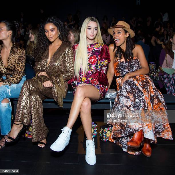 Shay Mitchell Sarah Snyder and Rosario Dawson attend the Ann Sui fashion show during New York Fashion Week The Shows at Gallery 1 Skylight Clarkson...