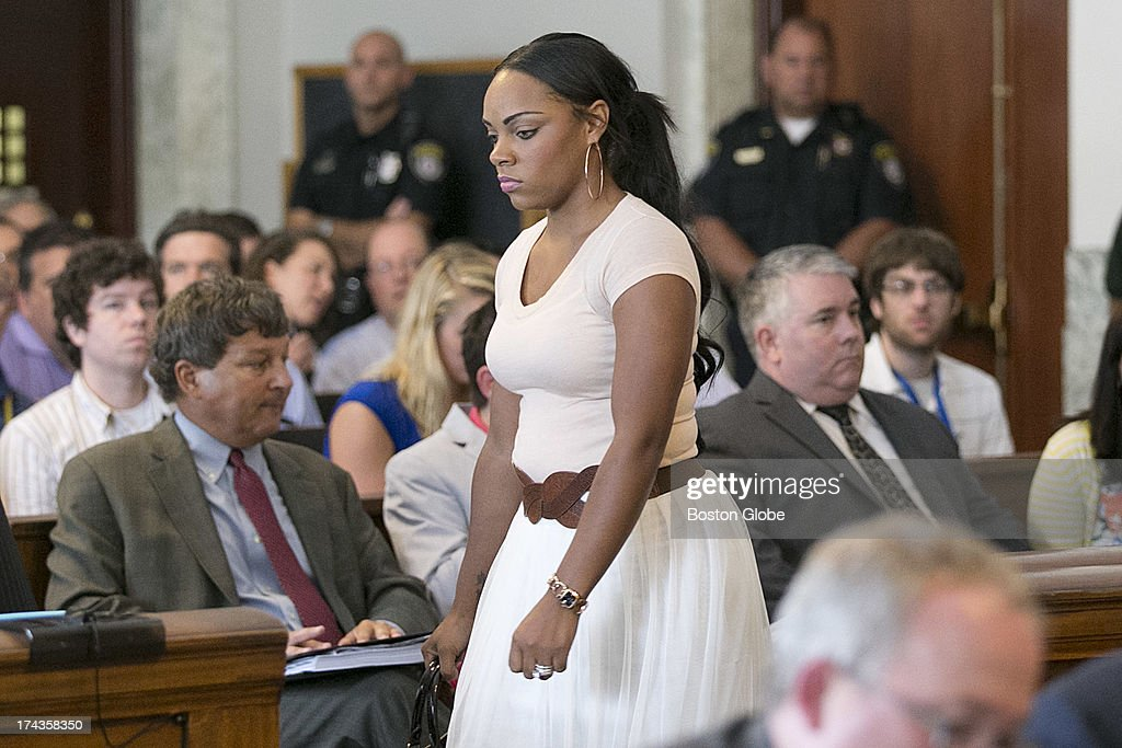 Shayanna Jenkins, girlfriend of Aaron Hernandez entered the court room. Former New England Patriots tight end Aaron Hernandez appeared in Attleboro District Court in Attleboro, Mass. on Wednesday, July 24, 2013.