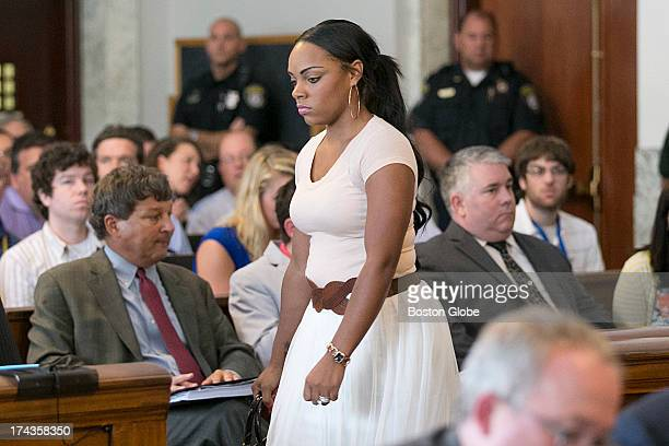 Shayanna Jenkins girlfriend of Aaron Hernandez entered the court room Former New England Patriots tight end Aaron Hernandez appeared in Attleboro...