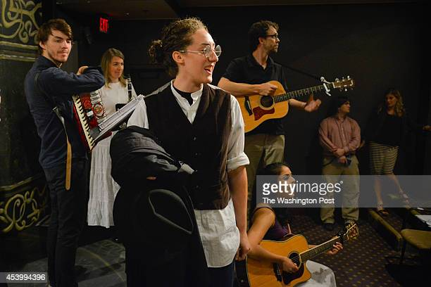 Shayna Blass playing the character Yentl rehearses with her castmates a scene from a stage version of 'Yentl' at the Jewish Community Center on...