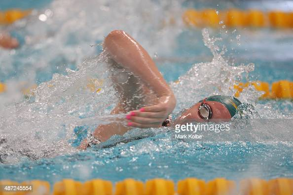 Shayna Jack of Australia competes in the girls 100m freestyle preliminaries at the aquatic centre of the Tuanaimato Sports Facility on day two of the...
