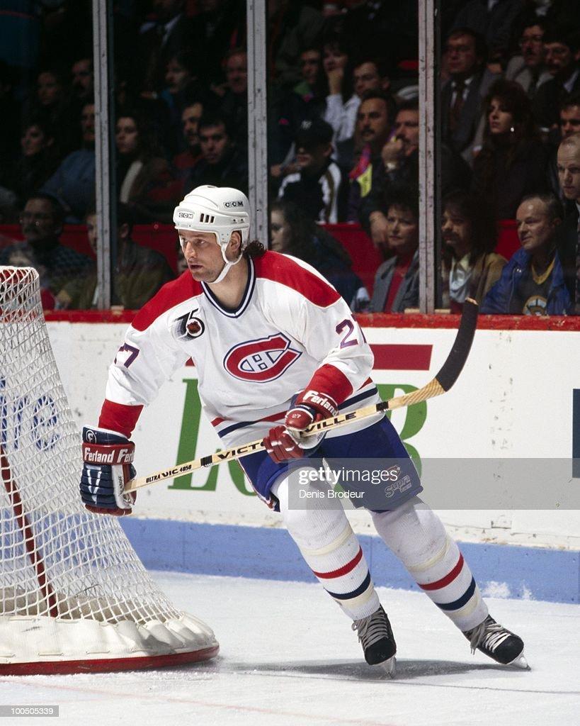 Shayne Corson #27 of the Montreal Canadiens skates in the late 1980's at the Montreal Forum in Montreal, Quebec, Canada.