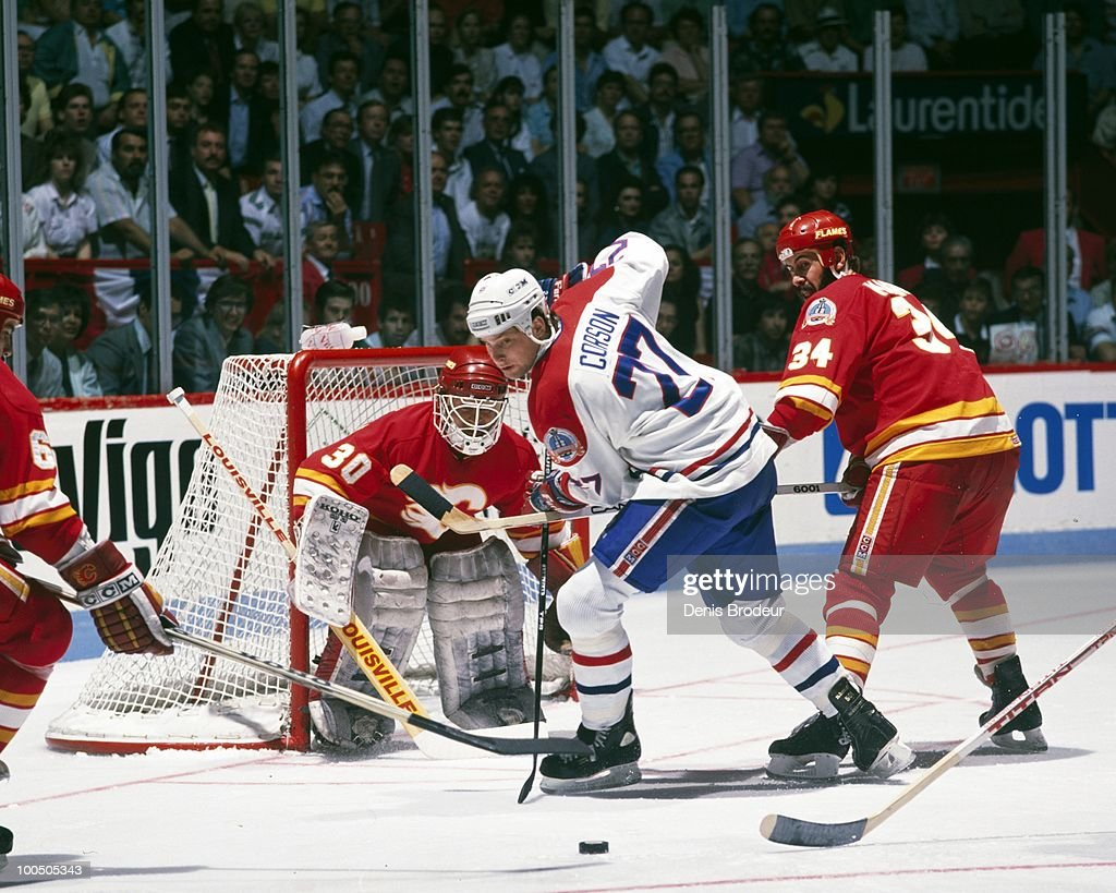 Shayne Corson #27 of the Montreal Canadiens skates in the late 1989 Stanley Cup Finals at the Montreal Forum in Montreal, Quebec, Canada.