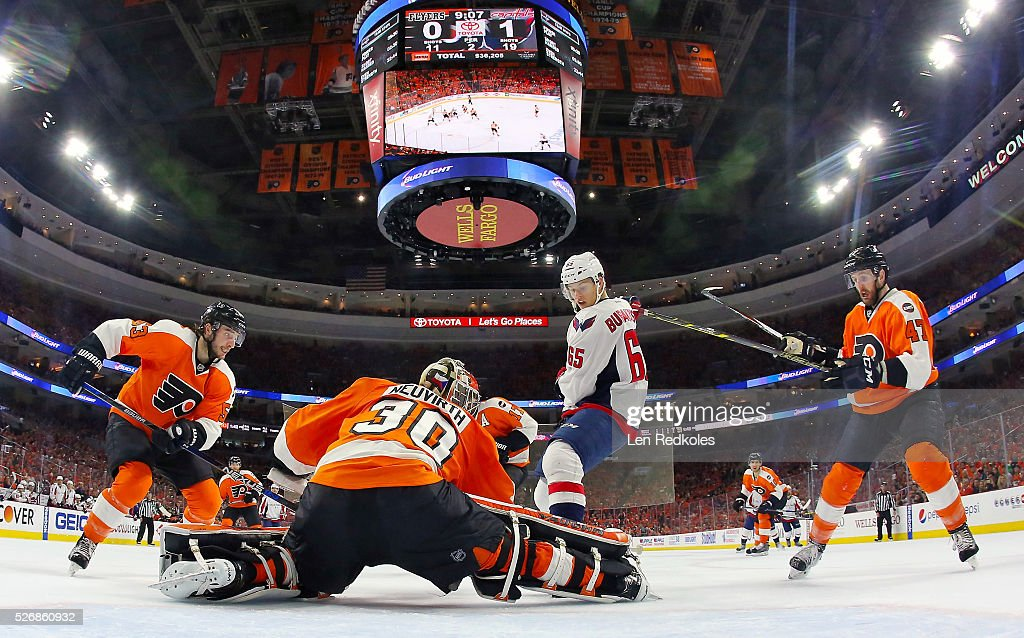 <a gi-track='captionPersonalityLinkClicked' href=/galleries/search?phrase=Shayne+Gostisbehere&family=editorial&specificpeople=9102740 ng-click='$event.stopPropagation()'>Shayne Gostisbehere</a> #53, <a gi-track='captionPersonalityLinkClicked' href=/galleries/search?phrase=Michal+Neuvirth&family=editorial&specificpeople=3205600 ng-click='$event.stopPropagation()'>Michal Neuvirth</a> #30 and <a gi-track='captionPersonalityLinkClicked' href=/galleries/search?phrase=Andrew+MacDonald+-+Joueur+de+hockey+sur+glace&family=editorial&specificpeople=10579091 ng-click='$event.stopPropagation()'>Andrew MacDonald</a> #47 of the Philadelphia Flyers stop a scoring attempt by Andre Burakovsky #65 of the Washington Capitals in Game Six of the Eastern Conference First Round during the 2016 NHL Stanley Cup Playoffs at the Wells Fargo Center on April 24, 2016 in Philadelphia, Pennsylvania.
