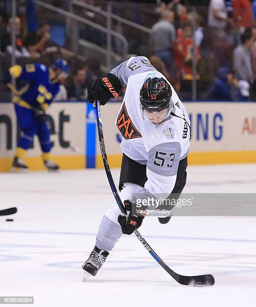 Shayne Gostisbehere of Team North America warms up prior to a game against Team Sweden during the World Cup of Hockey 2016 at Air Canada Centre on...