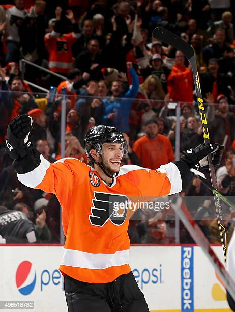 Shayne Gostisbehere of the Philadelphia Flyers celebrates his game winning goal in overtime against the Carolina Hurricanes on November 23 2015 at...