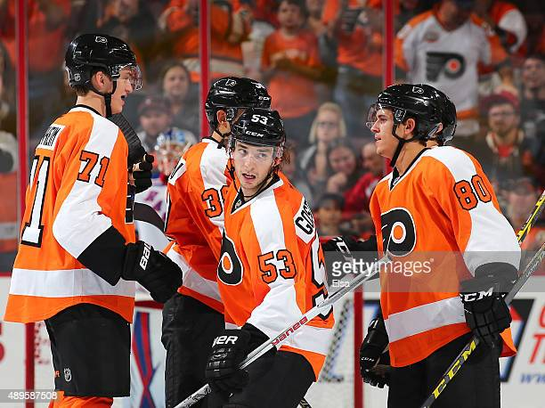 Shayne Gostisbehere of the Philadelphia Flyers celebrates his goal with teammates Travis SanheimAaron Palushaj and Travis Konecny in the third period...