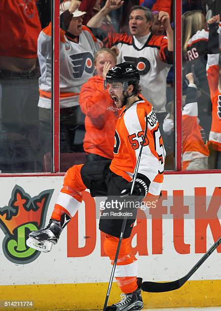 Shayne Gostisbehere of the Philadelphia Flyers celebrates his second period goal against the Tampa Bay Lightning on March 7 2016 at the Wells Fargo...