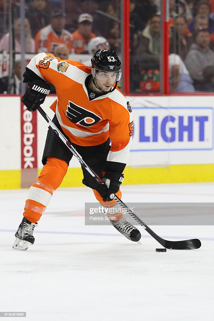 Shayne Gostisbehere #53 of the Philadelphia Flyers in action against Pittsburgh Penguins during the second period at Wells Fargo Center on October 29, 2016 in Philadelphia, Pennsylvania.