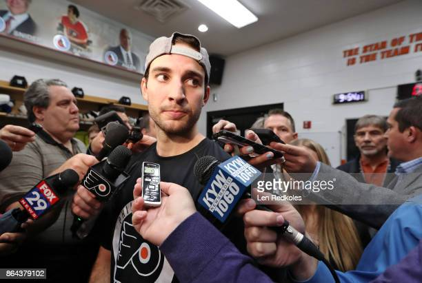 Shayne Gostisbehere of the Philadelphia Flyers speaks to the media after defeating the Florida Panthers 51 on October 17 2017 at the Wells Fargo...