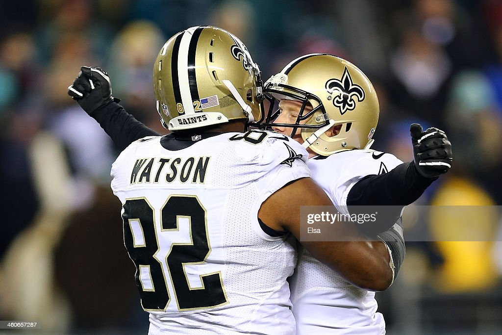 <a gi-track='captionPersonalityLinkClicked' href=/galleries/search?phrase=Shayne+Graham&family=editorial&specificpeople=819464 ng-click='$event.stopPropagation()'>Shayne Graham</a> #3 of the New Orleans Saints celebrates with teammate Benjamin Watson #82 after kicking the game winning field goal to defeat the Philadelphia Eagles in their NFC Wild Card Playoff game at Lincoln Financial Field on January 4, 2014 in Philadelphia, Pennsylvania. The New Orleans Saints defeated the Philadelphia Eagles 26 - 24.