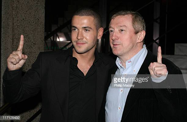Shayne Ward and Louis Walsh during Shayne Ward Louis Walsh and Former Boyzone Member Mikey Graham at the Late Late Show Dublin Ireland 21 April 2006...