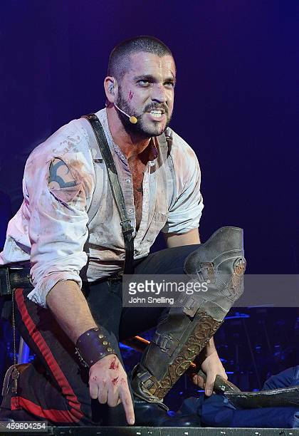 Shayne Ward as The Artilleryman performs during a dress rehearsal for 'War of the Worlds' on November 25 2014 in London England
