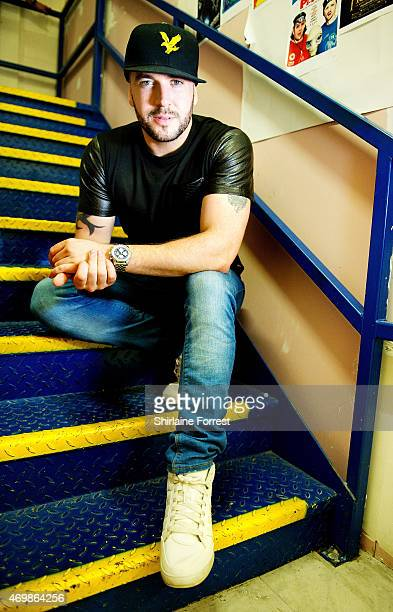 Shayne Ward poses backstage after meeting fans and signing copies of his new album 'Closer' at HMV Trafford on April 15 2015 in Manchester England
