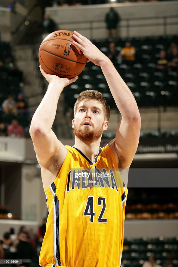 Shayne Whittington #42 of the Indiana Pacers attempts a free throw against the Atlanta Hawks on December 8, 2014 at Bankers Life Fieldhouse in Indianapolis, Indiana.