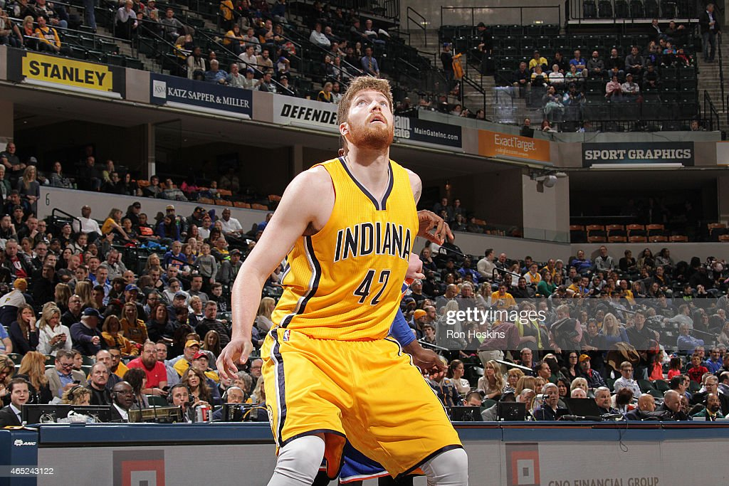 Shayne Whittington #42 of the Indiana Pacers boxes out against the New York Knicks during the game on March 4, 2015 at Bankers Life Fieldhouse in Indianapolis, Indiana.