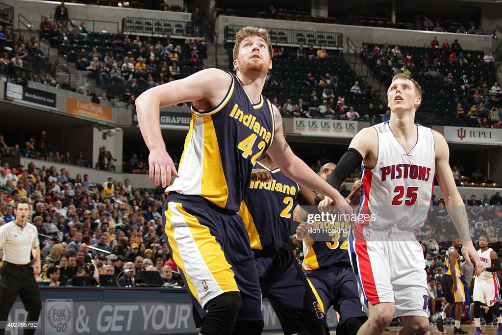 Shayne Whittington #42 of the Indiana Pacers boxes out against the Detroit Pistons during the game on February 4, 2015 at Bankers Life Fieldhouse in Indianapolis, Indiana.