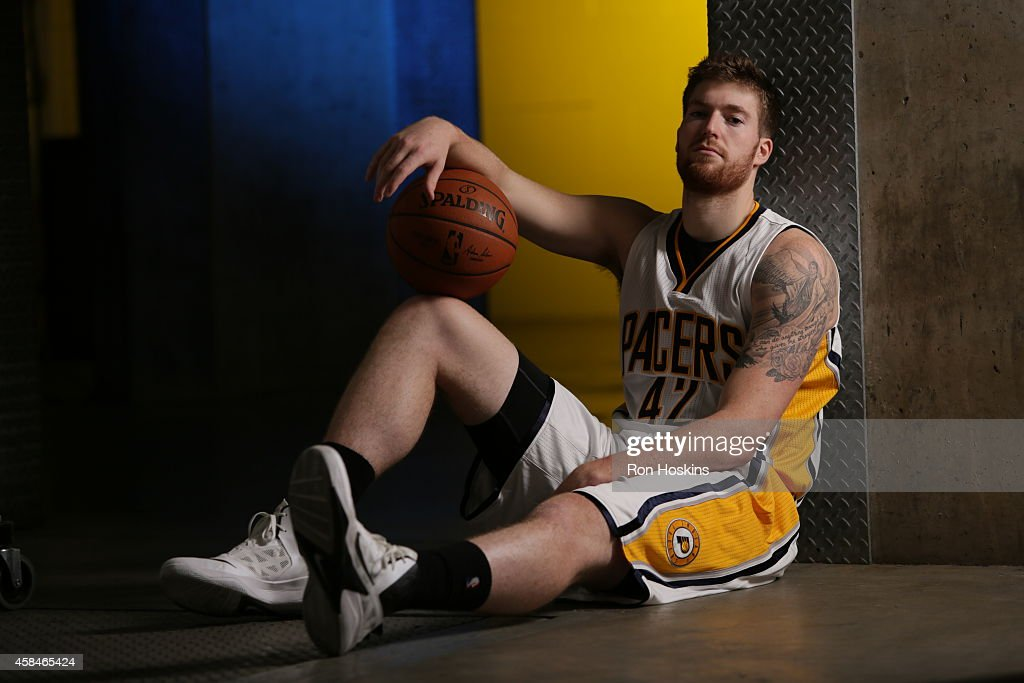 Shayne Whittington #42 of the Indiana Pacers during the Pacers media day at Bankers Life Fieldhouse on September 29, 2014 in Indianapolis, Indiana.