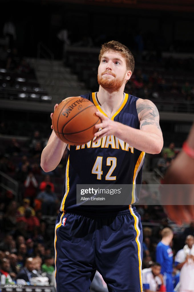 Shayne Whittington #42 of the Indiana Pacers prepares to shoot against the Detroit Pistons during the game on December 26, 2014 at The Palace of Auburn Hills in Auburn Hills, Michigan.