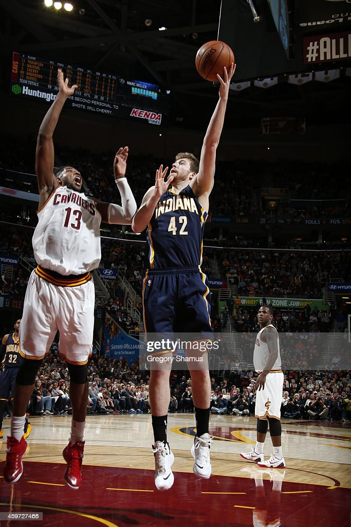 Shayne Whittington #42 of the Indiana Pacers shoots the ball against the Cleveland Cavaliers during the game on November 29, 2014 at Quicken Loans Arena in Cleveland, Ohio.