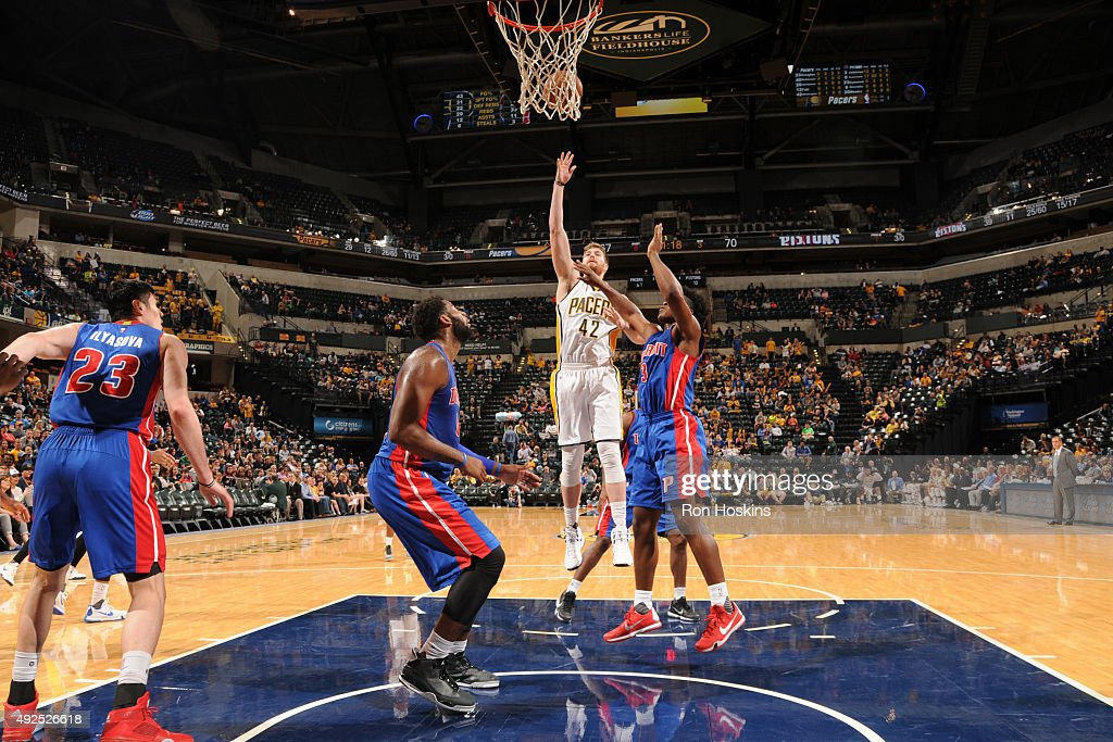 Shayne Whittington #42 of the Indiana Pacers shoots the ball against the Detroit Pistons during a preseason game on October 13, 2015 at Bankers Life Fieldhouse in Indianapolis, Indiana.