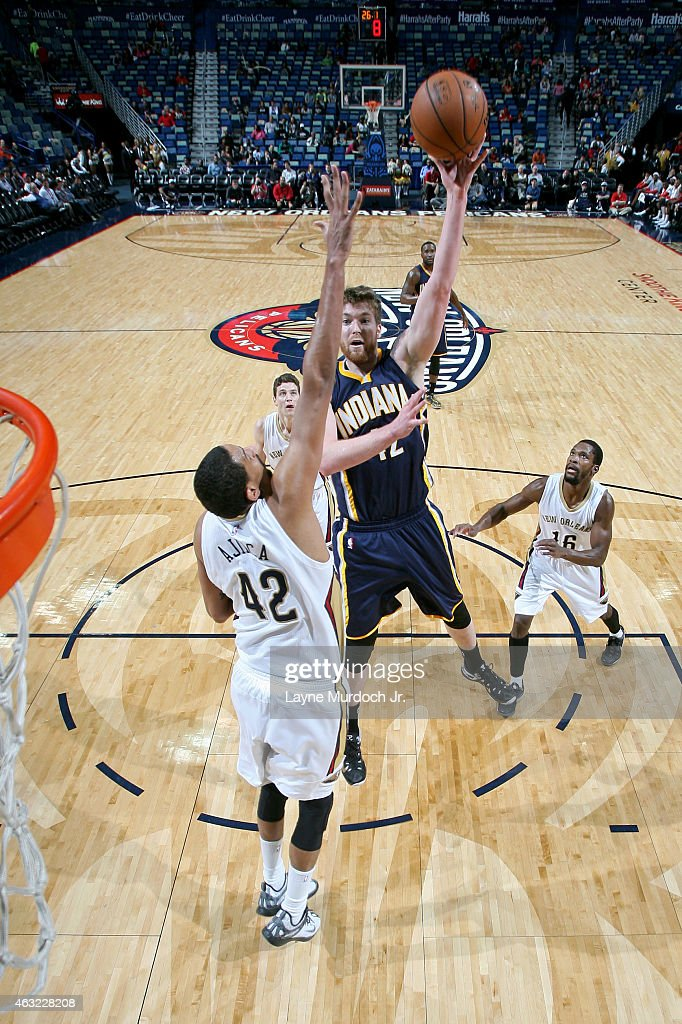 Shayne Whittington #42 of the Indiana Pacers takes a shot against the New Orleans Pelicans on February 11, 2015 at Smoothie King Center in New Orleans, Louisiana.