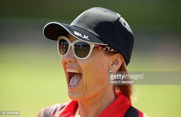 Shaynna Blaze looks on during the Medibank Melbourne Celebrity Twenty20 match at North Port Oval on February 21 2016 in Melbourne Australia Luke...