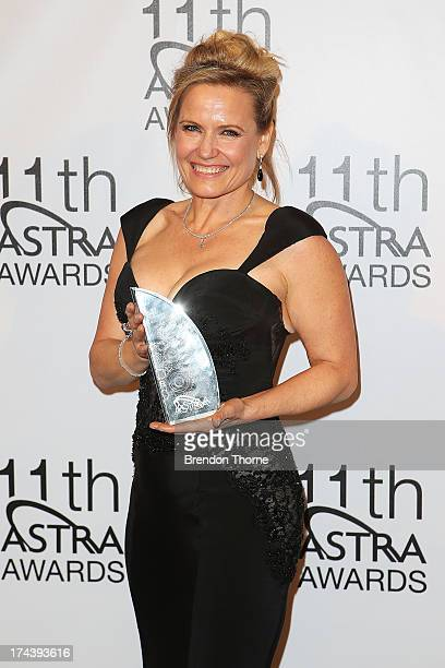 Shaynna Blaze poses with the award for Favourite Personality Female at the 11th Annual ASTRA Awards at the Sydney Theatre on July 25 2013 in Sydney...