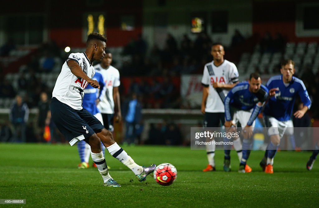 Shayon Harrison of Spurs scores the second goal from the penalty spot during the Barclays U21 Premier League International Cup match between...