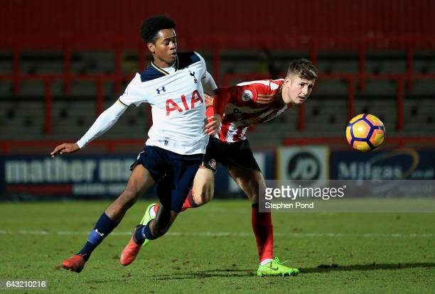 Shayon Harrison of Tottenham Hotspur and Ethan Robson of Sunderland compete for the ball during the Premier League 2 match between Tottenham Hotspur...