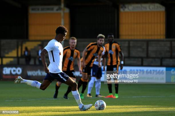 Shayon Harrison of Tottenham Hotspur scores a penalty during the pre season friendly match between Cambridge United and Tottenham U23 at Cambs Glass...