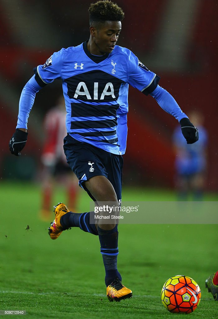 Shayon Harrison of Tottenham Hotspur U21 during the Barclays U21 Premier League match between Southampton and Tottenham Hotspur at St Mary's Stadium on February 9, 2016 in Southampton, England.
