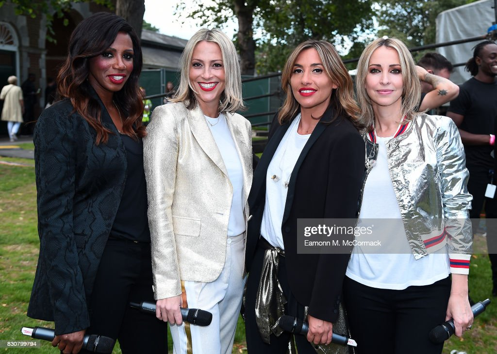Shaznay Lewis, Nicole Appleton, Melanie Blatt and Natalie Appleton of All Saints before their performance at The Dubai Duty Free Shergar Cup, Ascot Racecourse on August 12, 2017 in Ascot, England.