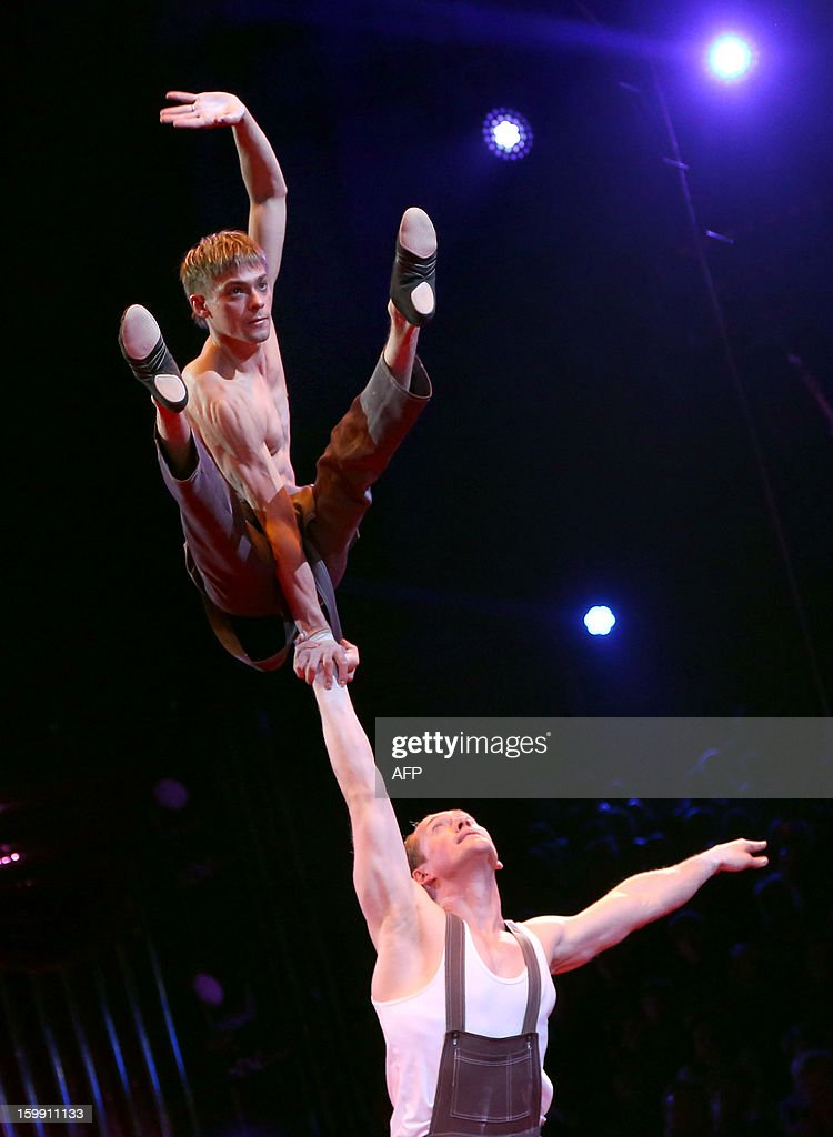 Shcherbak and Popov perform during the official Award Gala Evening of the 37th International Circus Festival of Monte Carlo in Monaco, 22 January 2013.