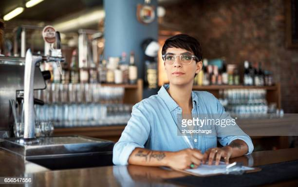 She controls the stock of the bar