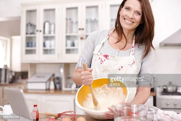 She has fun with baking