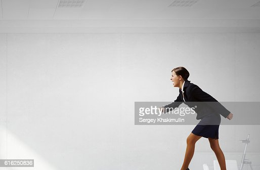She is competitive person . Mixed media : Stock Photo