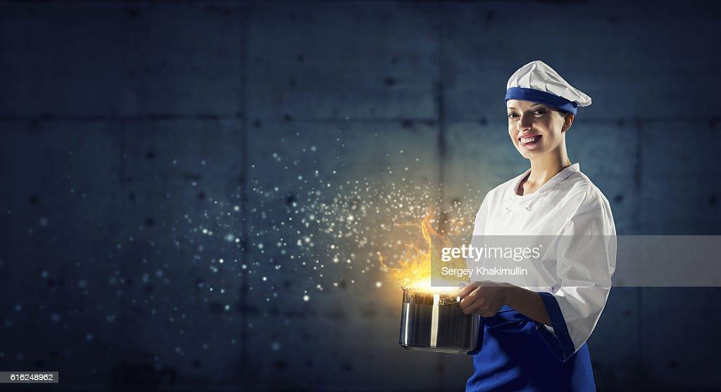 Ela é mágico como cozinhar. Técnica Mista : Foto de stock