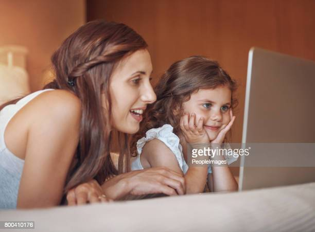 She loves watching her favourite cartoons with Mom