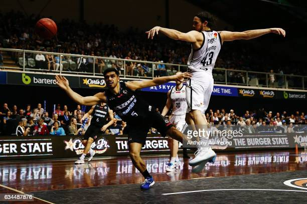 Shea Ili of the Breakers has his shot blocked by Chris Goulding of United during the round 19 NBL match between the New Zealand Breakers and...