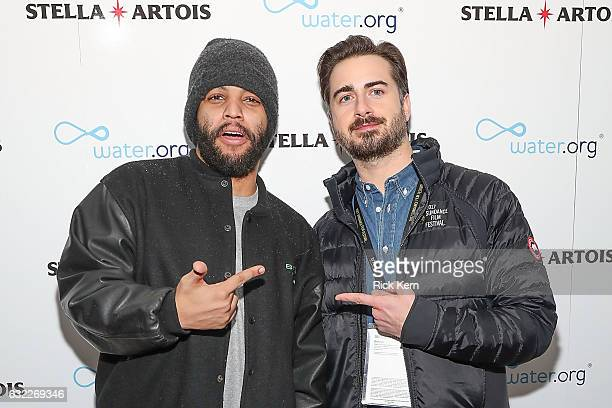 Shea Jackson Jr and Matt Spicer at the 'Ingrid Goes West' party in the Stella Artois Filmmaker Lounge during the Sundance Film Festival on January 20...