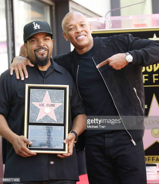 Shea Jackson Sr aka Ice Cube and Andre Romelle Young aka Dr Dre attend the ceremony honoring Ice Cube with a Star on The Hollywood Walk of Fame held...
